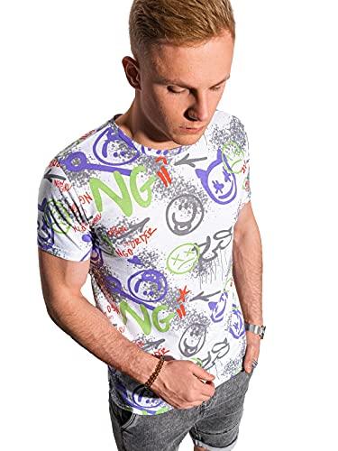 Ombre Camiseta Estampada para Hombre de Manga Corta con Diseño Gráfico de Algodón Casual Deportiva con Patrón de Emoticones de Moda T-Shirt Fit Slim S-XXL (XL, Blanco, x_l)