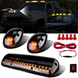 LIMICAR 3X Smoked Cover Cab Roof Top Marker Running Lamps Amber 30 LED Lights Compatible w/ 2002-2007...
