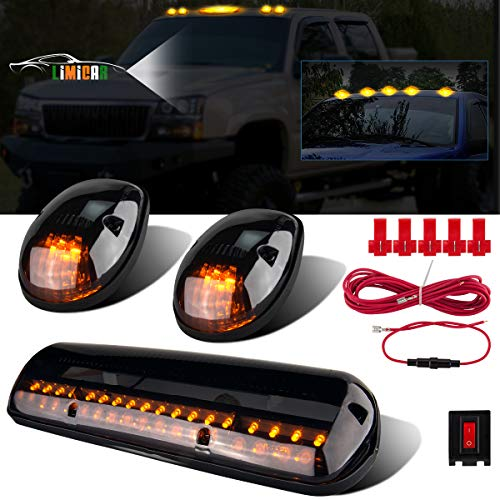 LIMICAR 3X Smoked Cover Cab Roof Top Marker Running Lamps Amber 30 LED Lights Compatible w/ 2002-2007 Chevrolet Silverado/GMC Sierra 1500 1500HD 2500 2500HD 3500 Trucks w/ Cab Marker Lights