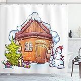 ABAKUHAUS Weihnachten Duschvorhang, Cartoon Nettes Haus, Personenspezifisch Druck inkl.12 Haken Farbfest Dekorative mit Klaren Farben, 175 x 200 cm, Karamell grün-weiß