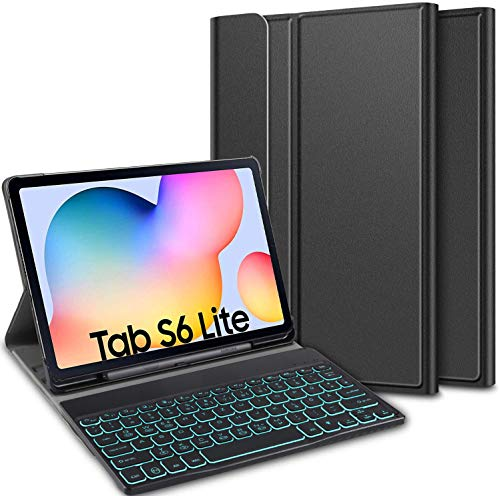ELTD Keyboard Case for Samsung Galaxy Tab S6 Lite (German QWERTZ) 7 Color LED Backlight Wireless Keyboard with Type C Charging Interface for Samsung Galaxy Tab S6 Lite 10.4' (Coal)