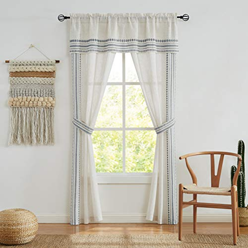 """Central Park 5 Piece Set Linen Curtain Panels with Navy Blue Embroidery Drapes Semi-Sheer Rod Pocket Window in a Bag for Bedroom Living Room with Attached Valance Matching 2 Tiebacks, 56""""x84""""x2"""