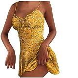 DressLksnf Vestido Mujeres Impresión de Lunares con Encaje de Tirantes Finos Vestir de Playa Cuello en v Fuera del Hombro Vestido Corto Verano Sexy Vestido de Fiesta (XL, Amarillo4)