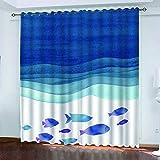 XDJQZX Cortinas opacas para dormitorio, sala de estar y guardería, 2 paneles 3D de peces pequeños en el suelo del mar azul, patrón impreso, aislamiento térmico, supersuave tratamientos para ventanas