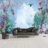 Carta Da Parati Murale 3D Pianta Tropicale Fiori E Uccelli Pittura Di Paesaggi Soggiorno Tv Divano Arredamento Camera Da Letto Carta Da Parati-450(W)X300(H)Cm