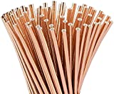 ALINK Rose Gold Foil Paper Straws, Biodegradable Disposable Party Drinking Straws for Birthday, Wedding, Bridal/Baby Shower Decorations and Holiday Celebrations, Pack of 100