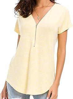 Comaba Women's Zip Comfort Blouse Cotton Short Sleeves V-Neck Tee Shirt
