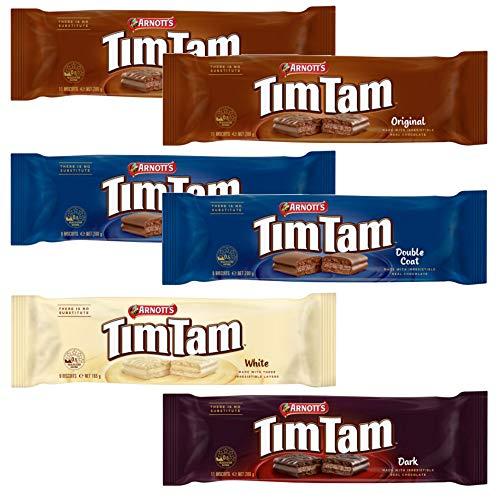 ティムタム いろいろセット 6個セット オリジナル2個、ダブルコート2個 クラシックダーク1個、ホワイト1個 ビスケット チョコ オーストラリア