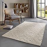 Taracarpet Moderner Landhaus Teppich Handwebteppich Fjord aus hochwertiger Schurwolle beidseitig legbar echte...