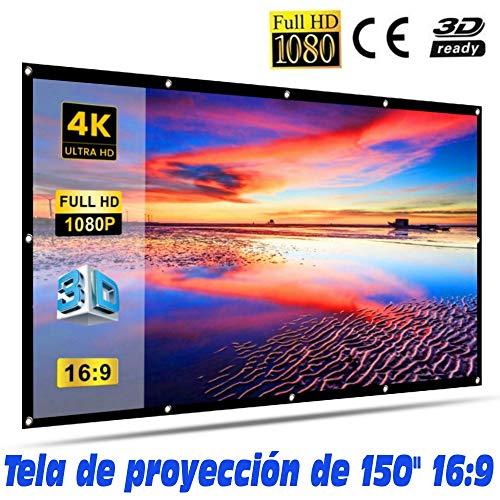 Tela de proyección Lux-Screen Formato 16:9 Superficie de 3 Capas Blanco Mate y Borde perimetal Negro, Pantalla para proyector para Colgar con argolla, garantía de 2 años (150 Pulgadas)