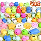 FLY2SKY 45Pcs Mochi Squishy Toys Mini Squishies Kawaii Animal Squishies Party Favors for Kids Cat Panda Unicorn Squishy Novelty Stress Relief Toys Birthday Gifts Goody Bags Class Prizes Pinata Fillers