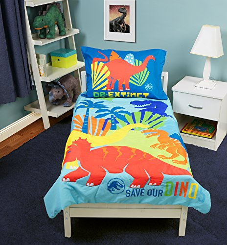 Jurassic World Save Our Dinos 4 Piece Toddler Bed Set, Blue