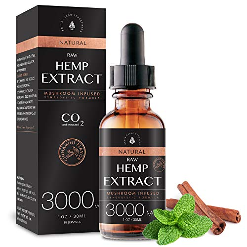 (2-Pack) Raw Hemp Oil - 3000MG - Cinnamint Flavor - Enhanced Efficacy, Made in USA - Rich in Omega 3-6-9 Fatty Acids, Kosher, Non-GMO. White Cedar Naturals
