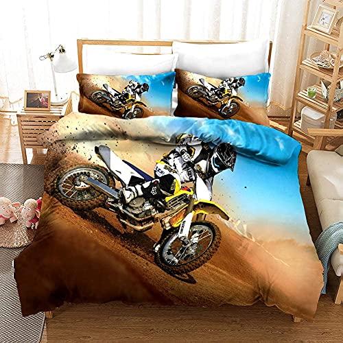 QWAS Motocross-Bettwäsche. Dirt Bike Xtreme Sportbettbezug-Set, geeignet für Jugendzimmer. Geeignet für alle Jahreszeiten (Bike6,135X200cm+50x75cmx2)