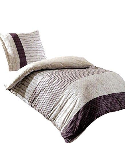 Leonado Vicenti Bettwäsche 155x220 cm 2 TLG. Baumwolle Renforcé gestreift beige braun Strickmuster mit Wendefunktion und Reißverschluss