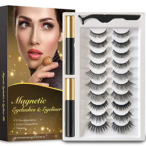 Rossy Magnetic Eyelash and Eyeliner Kit 10 Pairs 3D 5D Magnetic Eyelashes with 2 Special Magnetic Eyeliners and 1 Tweezer, Easy to Apply with Natural Look
