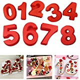 10 Inch Silicone Numbers Cake Molds,3D Digital Baking Silicone Mould,Large Number Cake Mold Set 0-9 Numbers Cake Molds Silicone Baking Pans for Birthday and Wedding Anniversary 3D Baking Molds Numbers
