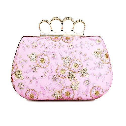 Tooba Women's Clutch (Pink Flower Thread Aari 4 Rings_Pink)