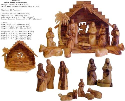 Christian Gifts Faceless Olive Wood Nativity Set - Made in Bethlehem