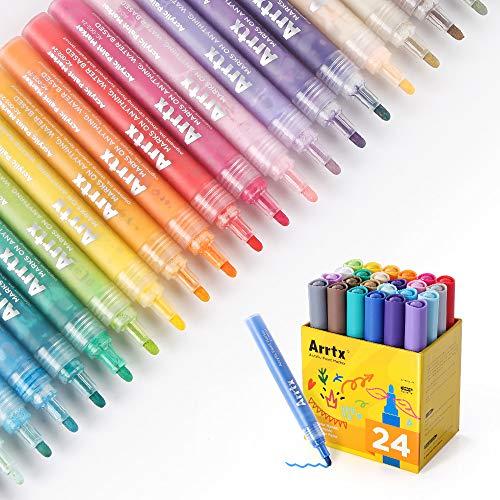 Arrtx アクリルマーカーペン 24色 良質繊維の筆先 最高の蛍光色 岩の絵画 、木材、紙、生地、ガラス、金属、セラミック、DIYクラフ、環境にやさしい、防水(24色)