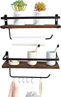 PHUNAYA Long Floating Shelves with Towel Holder and Hooks,Set of 2,Rustic Wood and Black Metal 17inch,for Bathroom,Kitchen,Bedroom