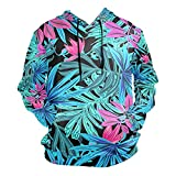 Vnurnrn Regalo De Hojas De Palma De Alcanfor De Arte Sudadera con Capucha Deportivas Sudaderas Hombre Mujer 3D Impresión Hoodie Pullover Sweatshirt para Niñas Niños
