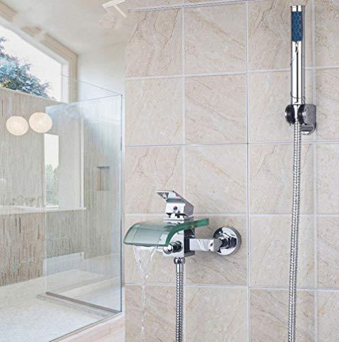 Linyuan Set di rubinetti per doccia con beccuccio in vetro Montaggio a parete cromato + Rubinetti per miscelatore per doccia manuale