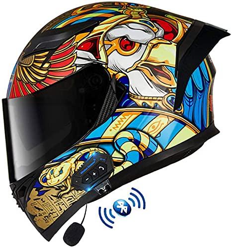 Casco Moto Bluetooth Integrado,Casco Motocicleta Modular,Aprobado por Dot/ECE,con Visera Solar Doble,Cascos de Motocross para niños, jóvenes, Hombres, Mujeres, Adultos (Color:K,Size:XXL=63-64CM)