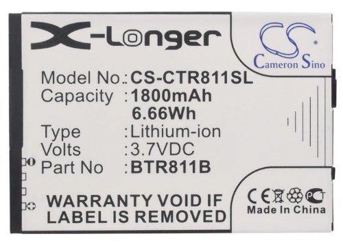 Cameron Sino 1800mAh / 6.66Wh Li-ion High-Capacity Replacement Batteries for Casio Commando 2/ Commando 4G LTE/ C811 , fits Casio BTR811B