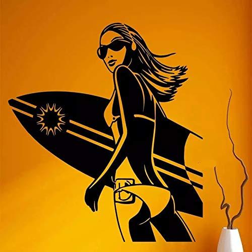 Etiqueta de la pared de vinilo de surf extremo surf vacaciones belleza belleza niña niña