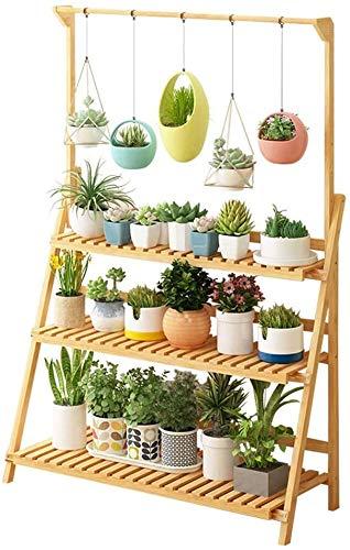 LBBGM 3 Tier Pflanzenregal Ständer hängen Bambus Pflanzenständer Display Regal Blumentopf Organizer Klapp Lagerregal Garten im Freien