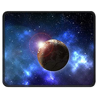 BOSOBO Gaming Mouse Pad, Anti Slip Planet Mouse Mat for Desktop, Computer, PC and Laptops, Customized Star Mouse Pad for Office and Home, Stitched Edge, Waterproof, Rectangle 10.2 x 8.3 Inch, Blue