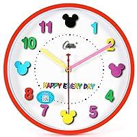 掛け時計 壁掛け時計/リビングルームの寝室子供部屋壁掛け時計ミュートクォーツ時計プラスチックダイヤル10インチ表面直径25.5センチメートル精度 (Color : D)