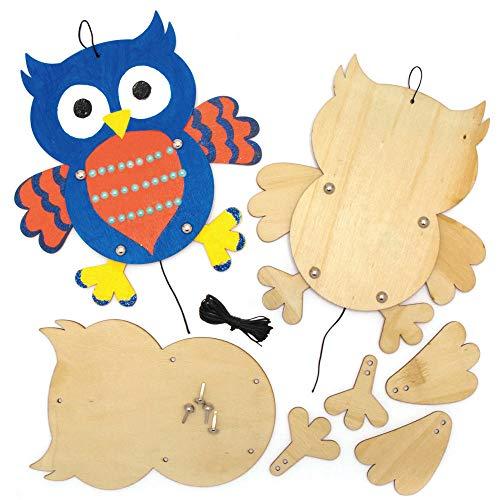 Baker Ross AX159 Eule Puppen aus Holz Bastelset für Kinder - 4 Stück, Kreative Künstler- und Bastelbedarf zum Basteln und Dekorieren zur Winterzeit