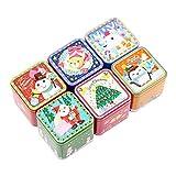 VORCOOL 6 Stück Weihnachtsdose Geschenkbox Quadrat Mini Süßigkeiten Dosen Gläser Keks Süßigkeiten Lagerbehälter Schmuckschatullen mit Deckeln für DIY Süßwaren Urlaub Dekor