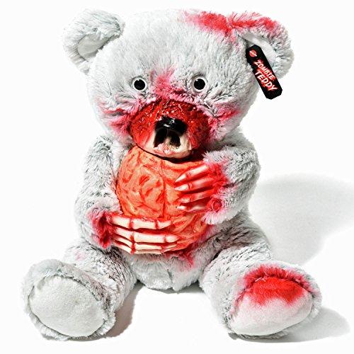 Zombie Teddy Original XXL 50cm Halloween Teddybär Horror-Bär Der Gruselige Kuschelbär für alle Splatter & Horror Fans (Herz)