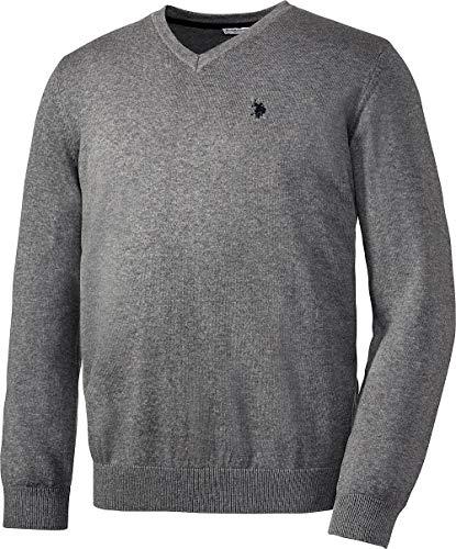 U.S. POLO ASSN. Herren Baumwoll-Pullover in Grau, aus 100% Baumwolle, V-Schnitt, mit lässigem Kastenschnitt, Herren Sweatshirt für Sommer & Winter, Gr. M - XXXL