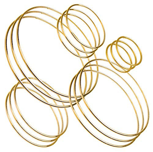 Bastex 15 Piece Gold Metal Hoop Craft Rings. Bulk Ring Sizes That Include, 2, 3, 4, 5 and 6 Inch Diameter and. Perfect for Macrame, Dreamcatcher, Embroidery, Wreaths and More