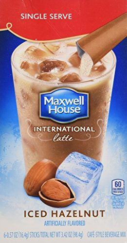 Maxwell House International Iced Hazelnut Latte 6 Single Servings (3 Pack)