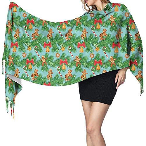 Gran Suave Artificial Cachemira Pashmina Ramas de abeto de Navidad Womans Bufanda Abrigo Chal cálido
