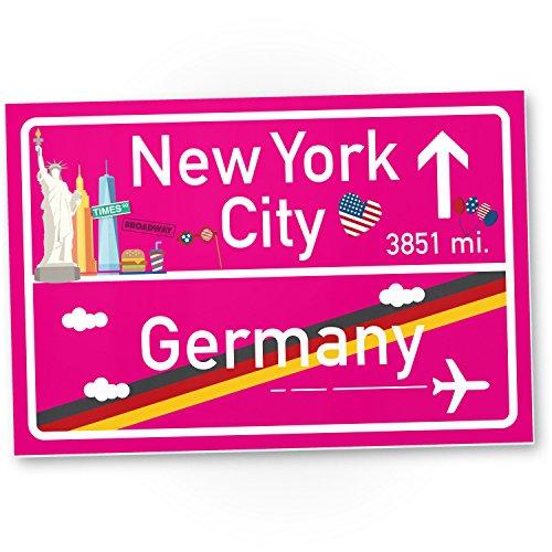 DankeDir! New York City Kunststoff Schild Pink Geschenk für sie - Amerika Reise süße Deko NYC Fans Wanddeko Türschild Mädchen Wohnung Geschenkidee Geburtstagsgeschenk Beste Freundin Party Deko