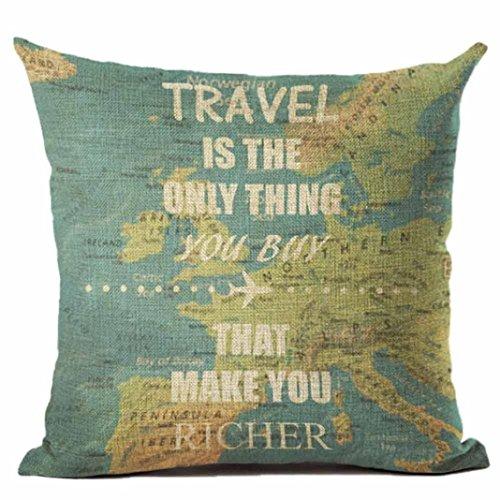 Kissenbezug 45 x 45 cm WeltKarte kissenhülle Sofa Taille Wurf Kopfkissenbezug Pillow Cover LuckyGirls (G)