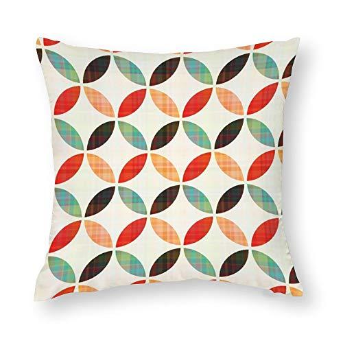 YY-one Fundas de almohada decorativas sin costuras, patrón geométrico circular, funda de cojín de algodón para sofá, silla, cuadrado, 45,7 x 45,7 cm