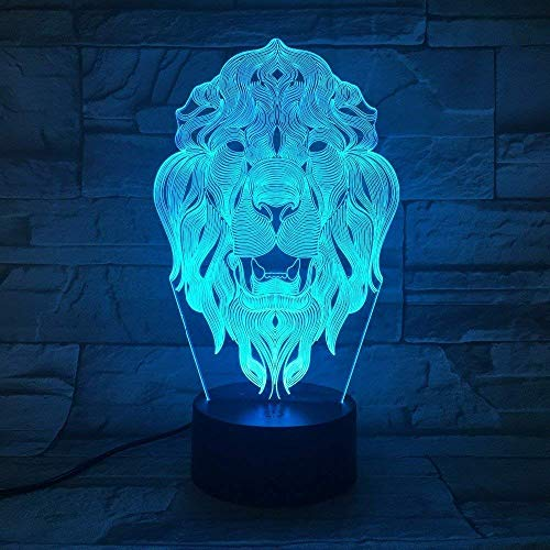 Kreative 3D Löwe Nacht Licht 7 Farben Andern Sich USB Adapter Touch Schalter Dekor Lampe Optische Täuschung Lampe LED Lampe Tisch Kinder Brithday Weihnachten Geschenke