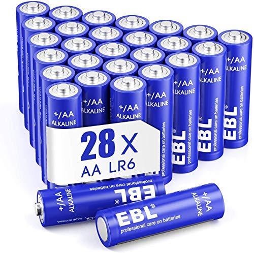 EBL Pilas AA Alcalinas Larga Duración Alto Rendimiento Pilas Normales Desechables para Juguetes Báscula Reloj (28 Unidades de 1,5 V NO Recargables)