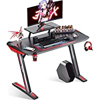 Motpak 40 Inch Z Shaped Carbon Coated Gaming Desk Table