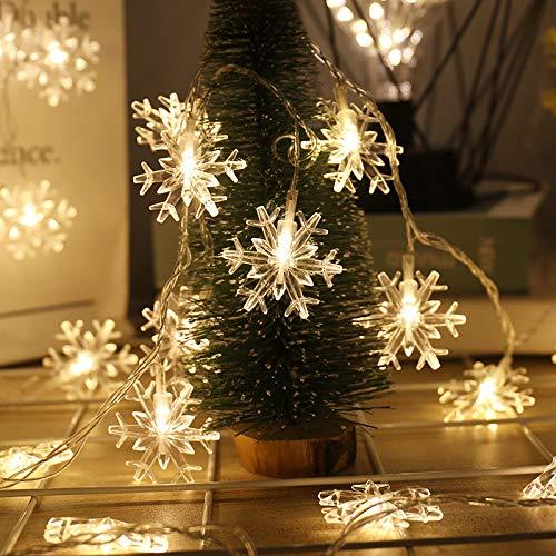 SYQS Sneeuwvlok LED-lichtsnoer, vakantie lichten bruiloft decoratieve verlichting sfeer, waterdichte achtergrondverlichting lamp verlicht 10m100 stekker