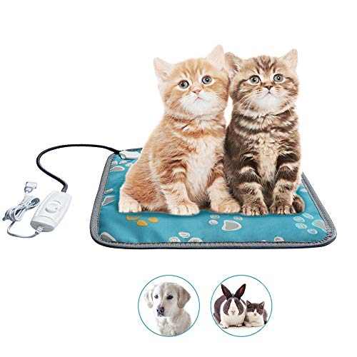 """MAZORT Pet Heating Pad Cats and Dogs Safety Electric Heated Pet Bed Warming Mat with 2 Adjustable Temperature Chew Resistant Cord 17.7"""" x 17.7"""""""