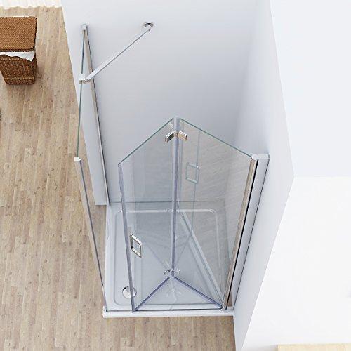 75 x 70 (Seitenwand) x 197 cm Duschkabine Eckeinstieg Dusche Falttür Duschwand NANO Glas DA …