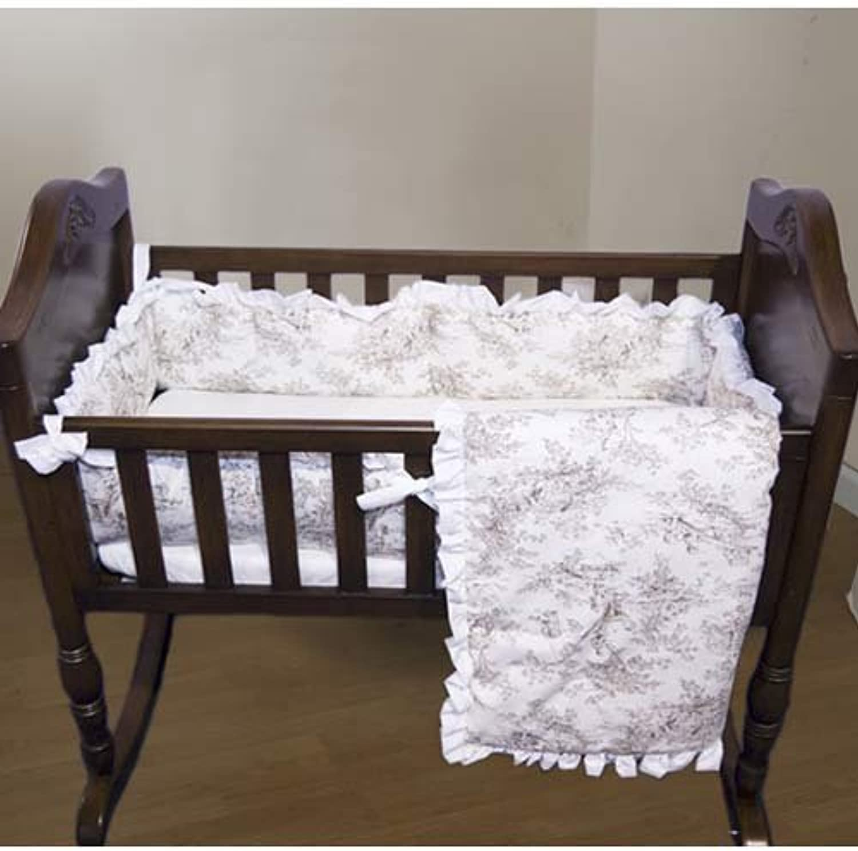Baby Doll Bedding Toile Deluxe Cradle Set, Bone